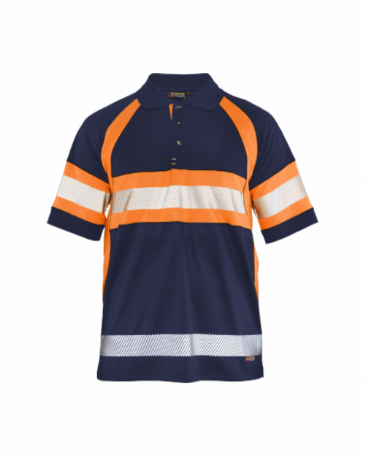 Blaklader 3338 High Vis Polo Shirt Class 1 (Navy Blue/Orange)